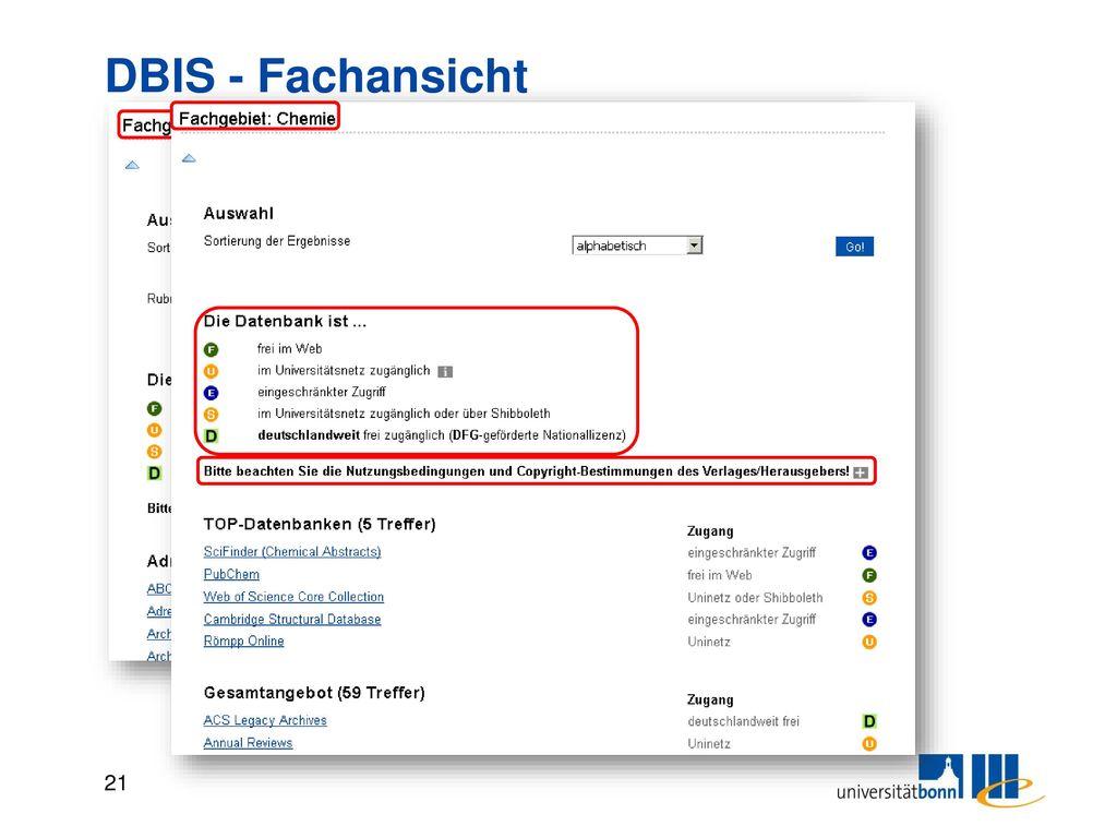 DBIS - Detailansicht Links zur Datenbank