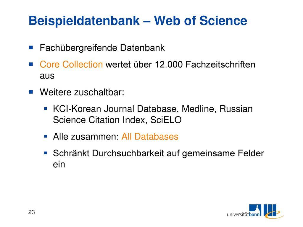 Beispieldatenbank – Web of Science