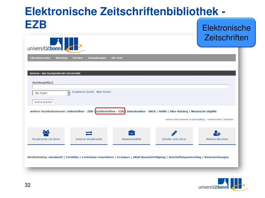 Elektronische Zeitschriftenbibliothek - EZB