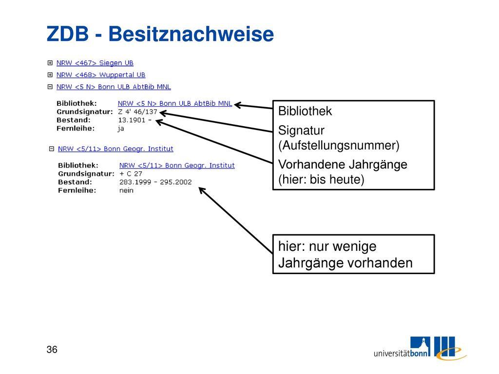 Bibliothekssigel Sigel identifizieren die besitzende Bibliothek und stellen ein Ordnungsmerkmal der ZDB dar.