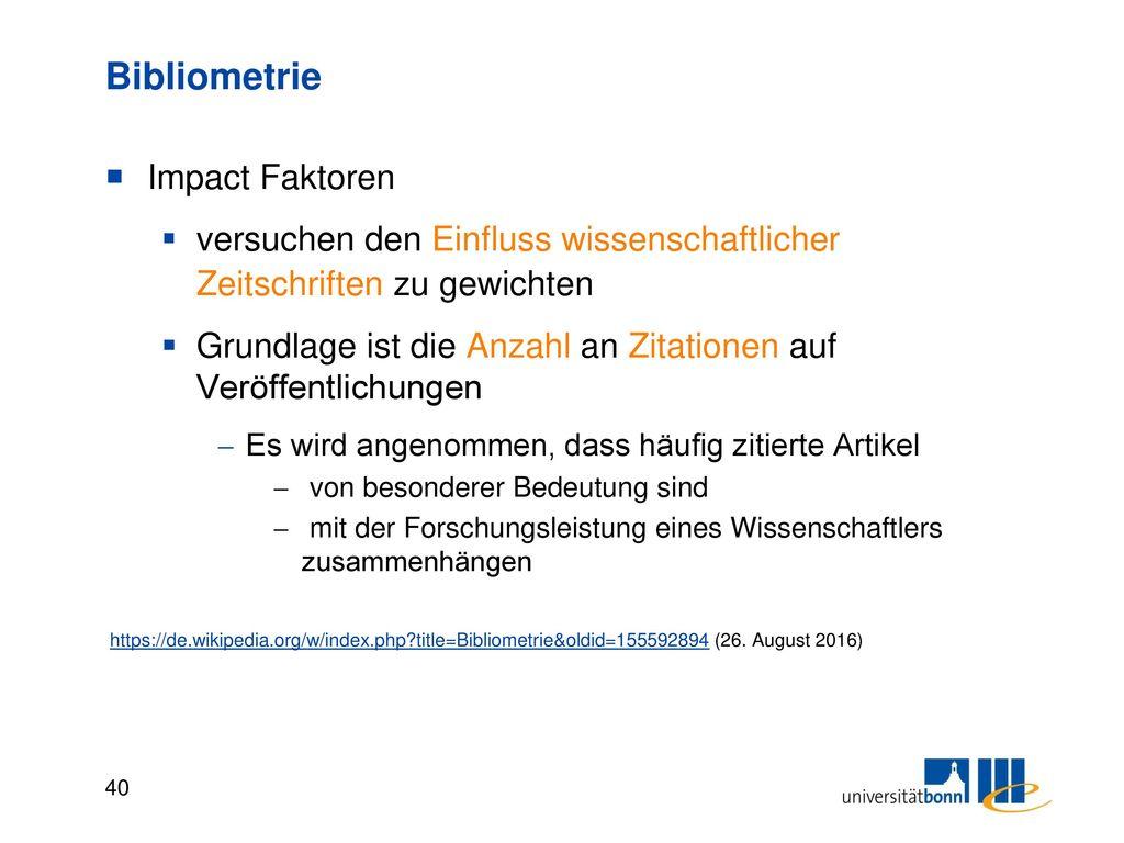 Bibliometrie Journal Impact Factor (J)IF