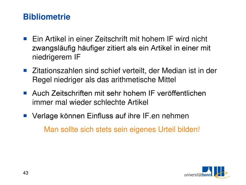 Bibliometrie h-index Hirsch-Index, Hirsch-Faktor