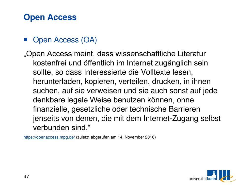 Open Access Quellen zu Open Access (OA)