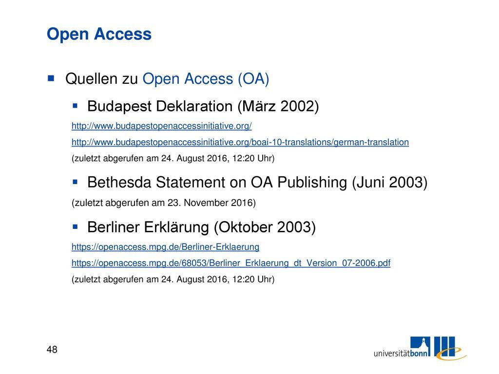 Open Access Strategien / Wege