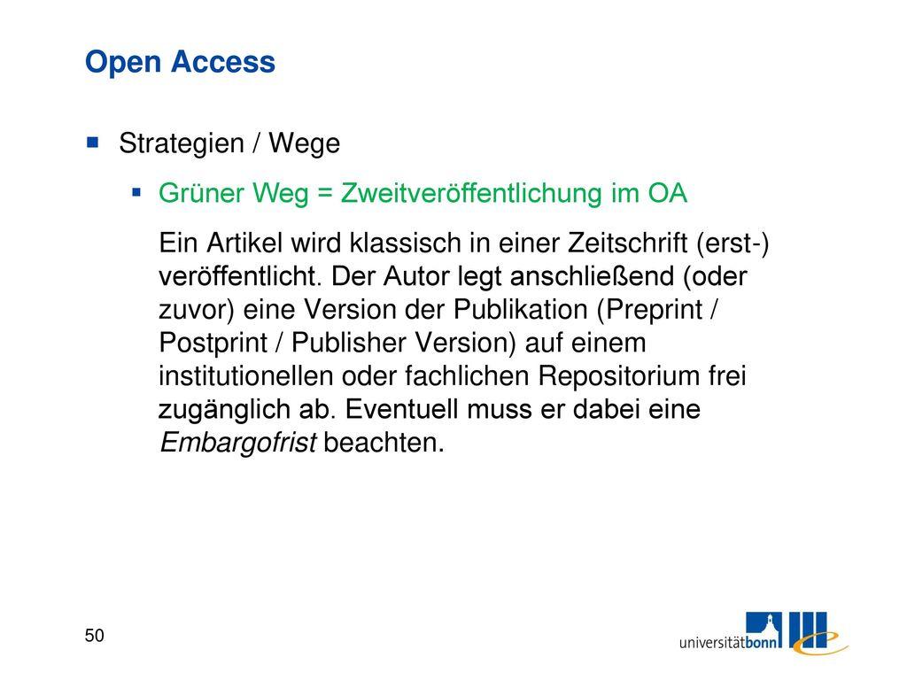 Open Access Bedeutung von Open Access für die Recherche