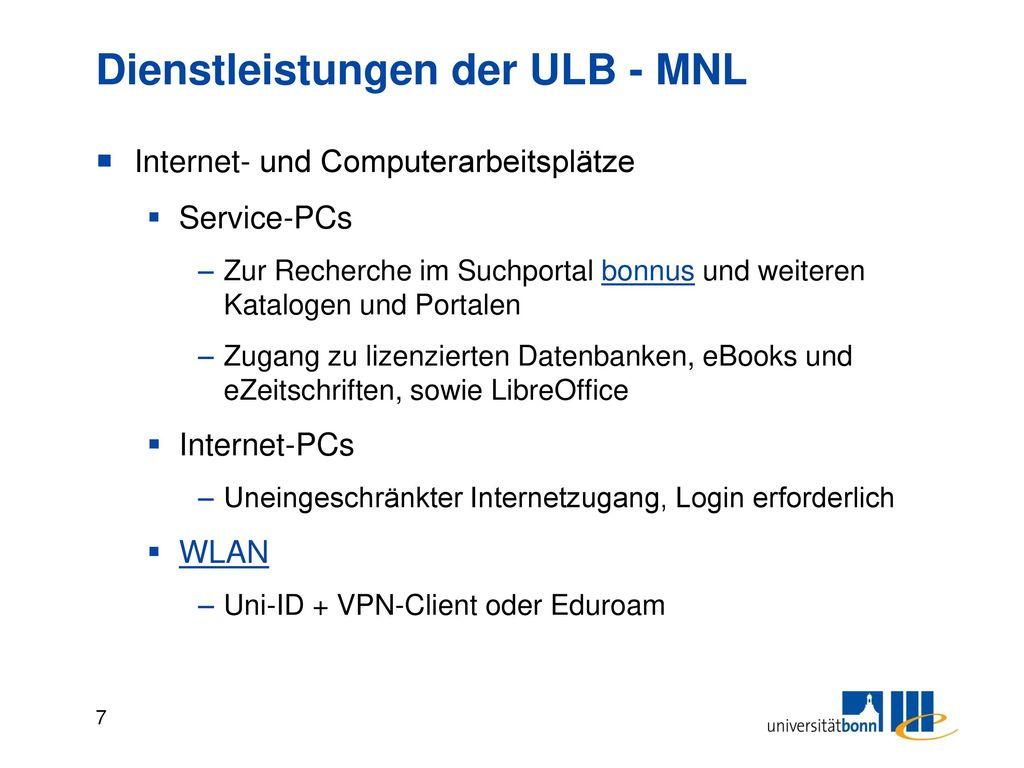 Dienstleistungen der ULB