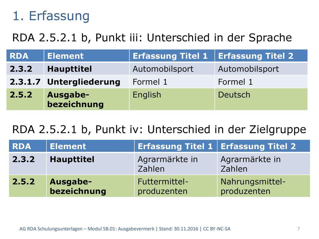 1. Erfassung RDA 2.5.2.1 b, Punkt iii: Unterschied in der Sprache