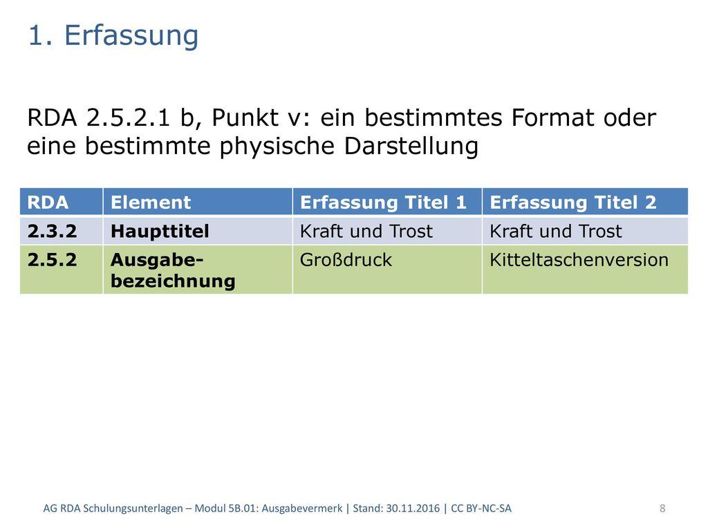 1. Erfassung RDA 2.5.2.1 b, Punkt v: ein bestimmtes Format oder eine bestimmte physische Darstellung.
