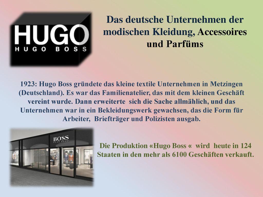 Das deutsche Unternehmen der modischen Kleidung, Accessoires und Parfüms