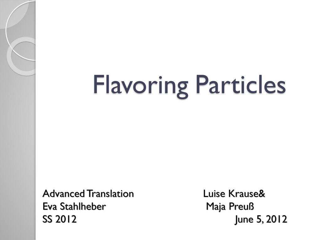Flavoring Particles Advanced Translation Luise Krause&