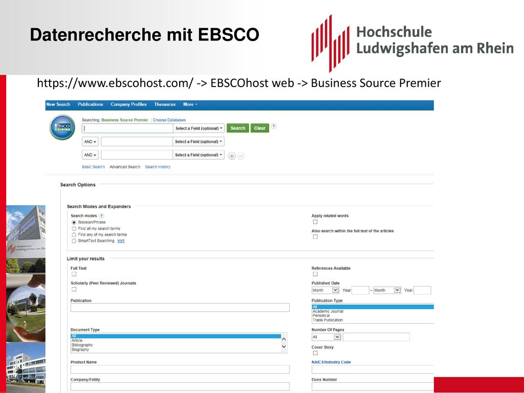 Datenrecherche mit EBSCO