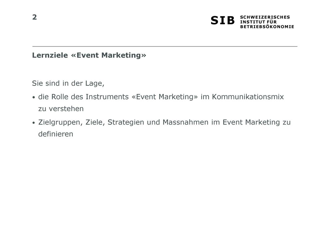 Lernziele «Event Marketing»