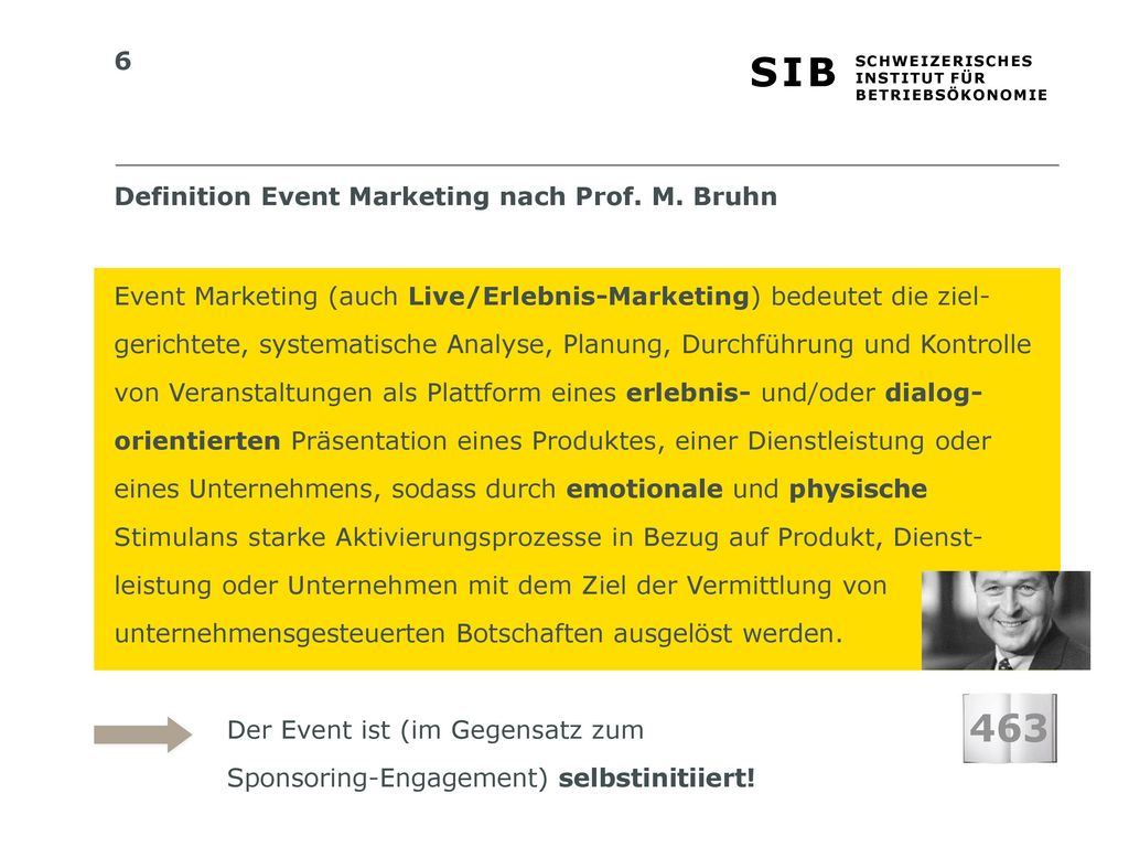 463 Definition Event Marketing nach Prof. M. Bruhn