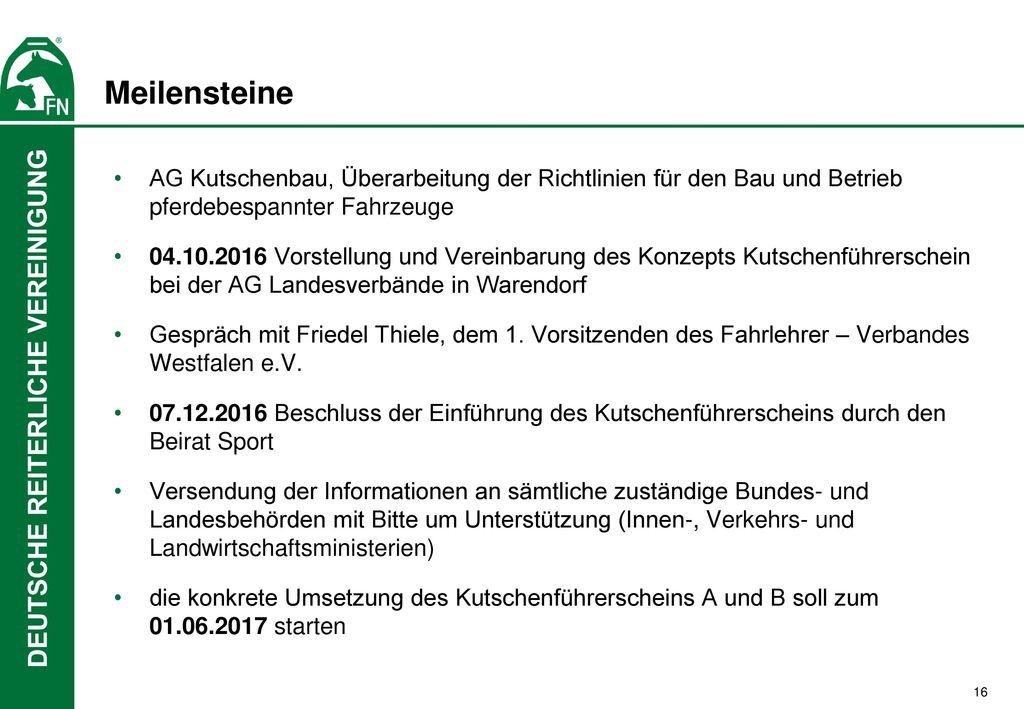 Meilensteine AG Kutschenbau, Überarbeitung der Richtlinien für den Bau und Betrieb pferdebespannter Fahrzeuge.