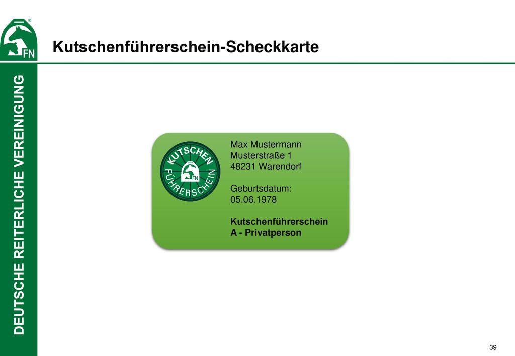 Kutschenführerschein-Scheckkarte