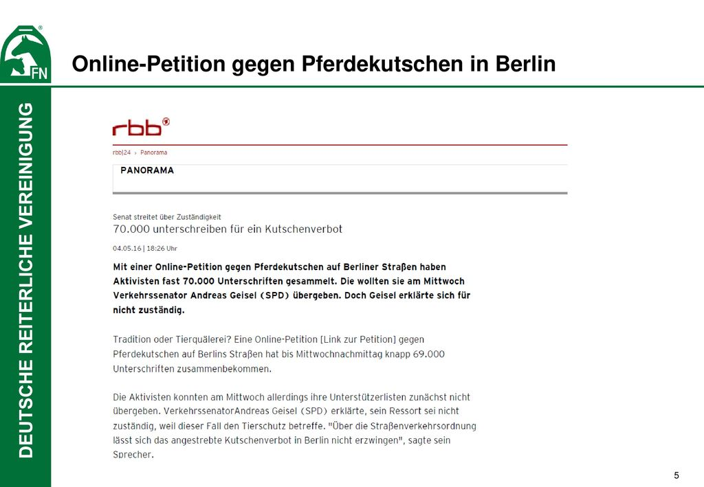 Online-Petition gegen Pferdekutschen in Berlin