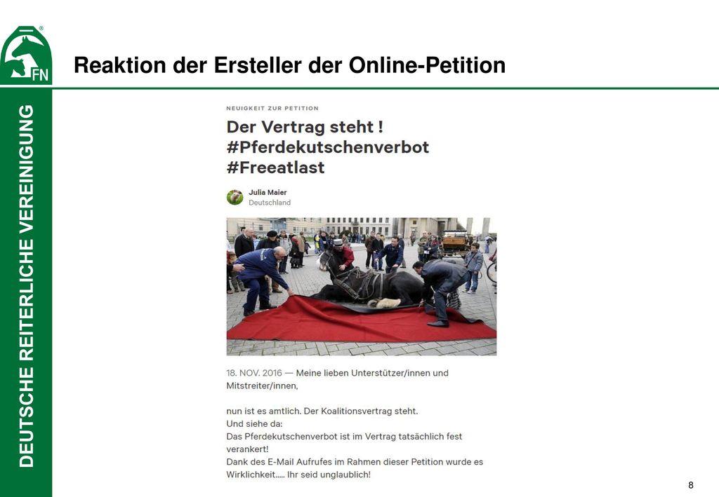 Reaktion der Ersteller der Online-Petition