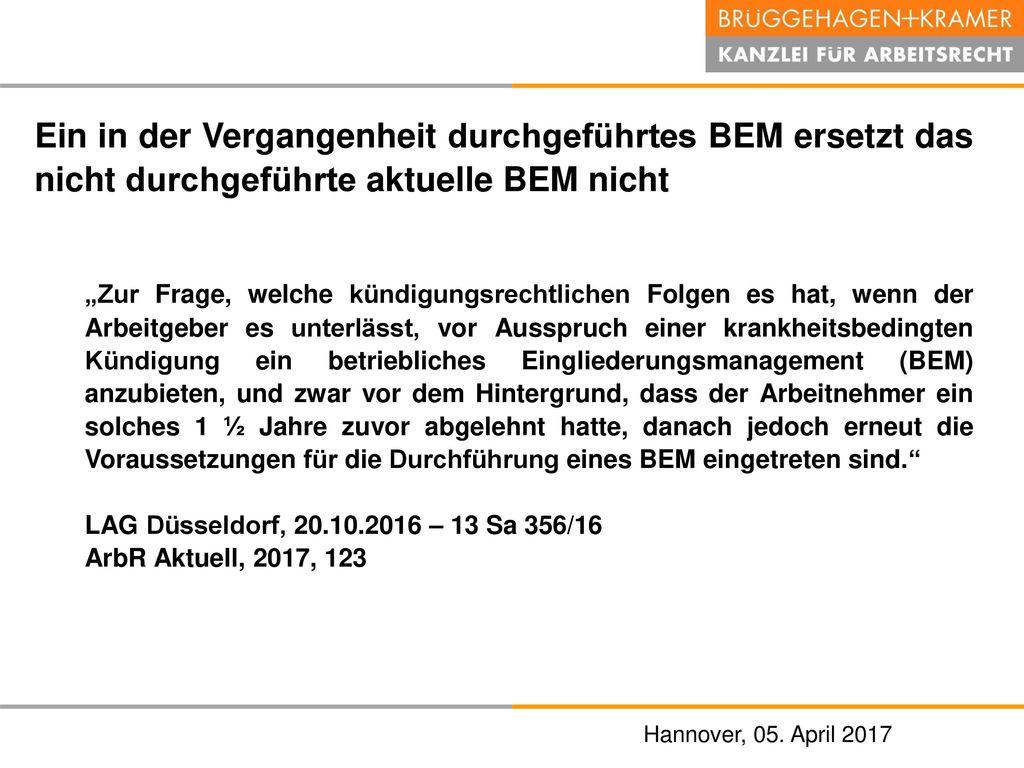 Ein in der Vergangenheit durchgeführtes BEM ersetzt das nicht durchgeführte aktuelle BEM nicht