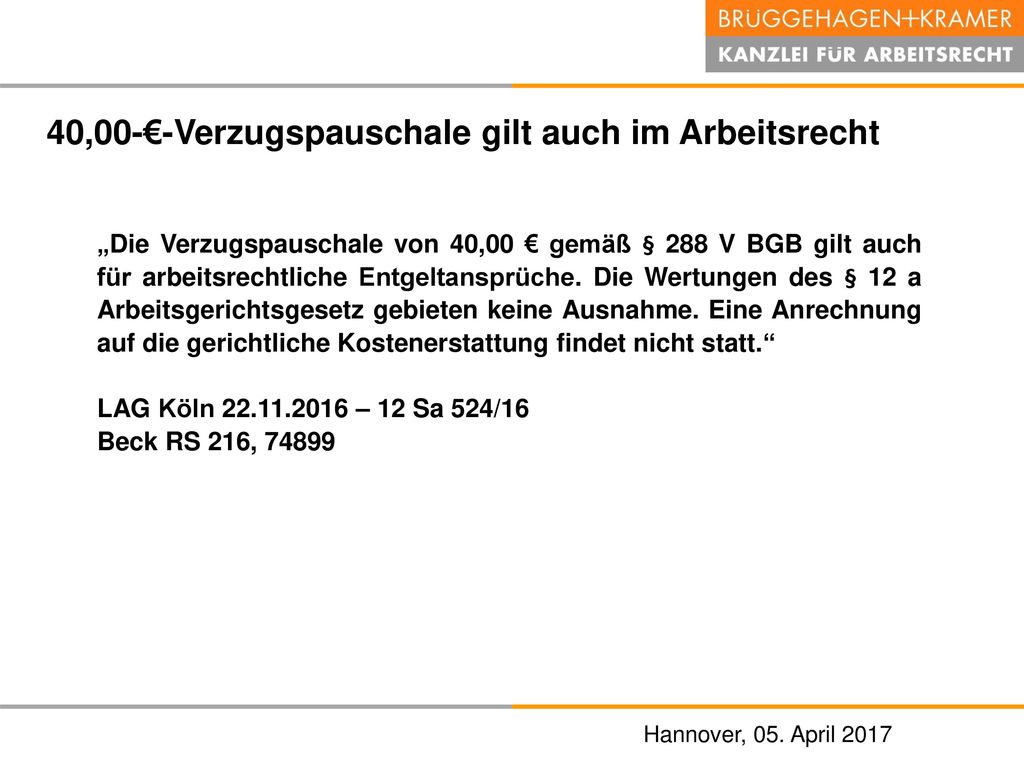 40,00-€-Verzugspauschale gilt auch im Arbeitsrecht