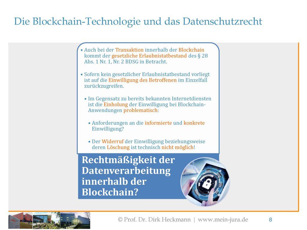 Die Blockchain-Technologie und das Datenschutzrecht