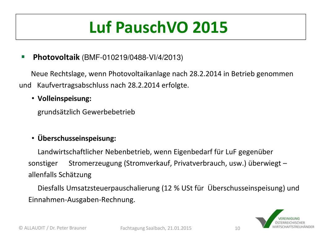 Luf PauschVO 2015 Photovoltaik (BMF-010219/0488-VI/4/2013)