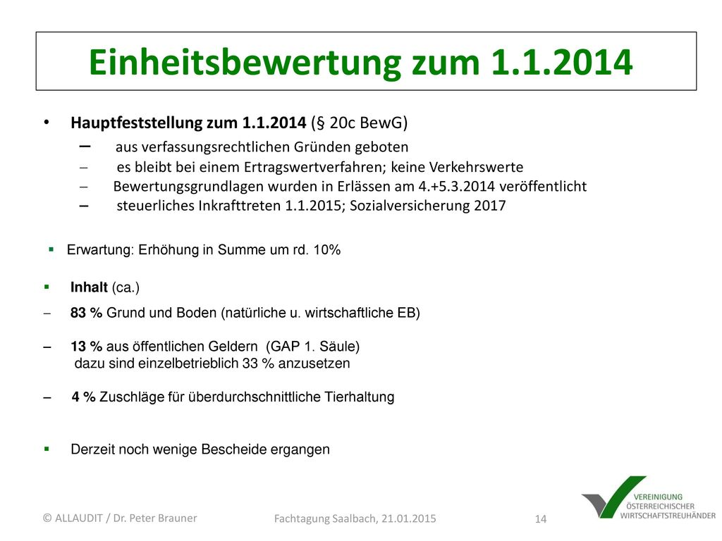 Einheitsbewertung zum 1.1.2014