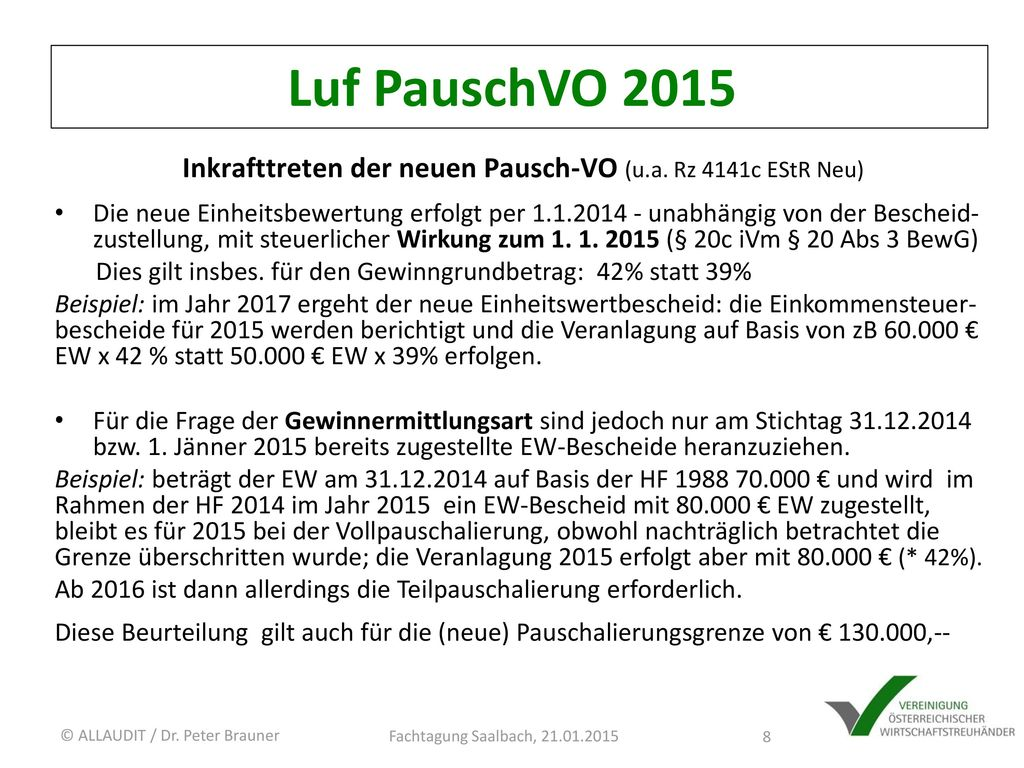 Inkrafttreten der neuen Pausch-VO (u.a. Rz 4141c EStR Neu)