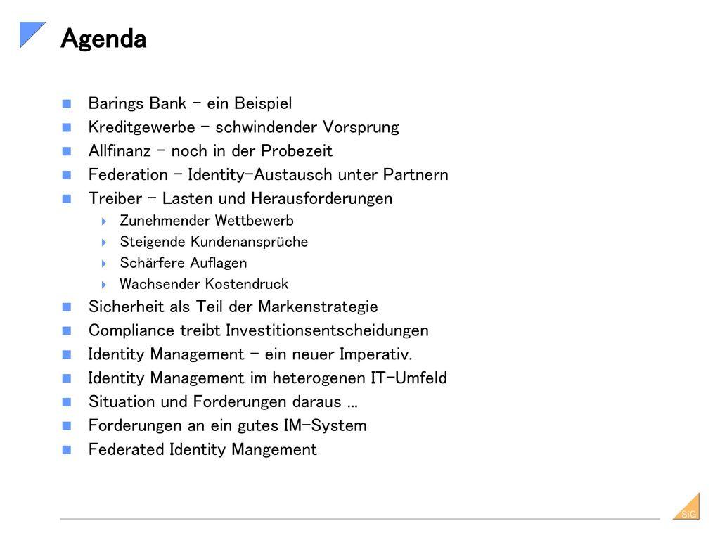 Agenda Barings Bank – ein Beispiel