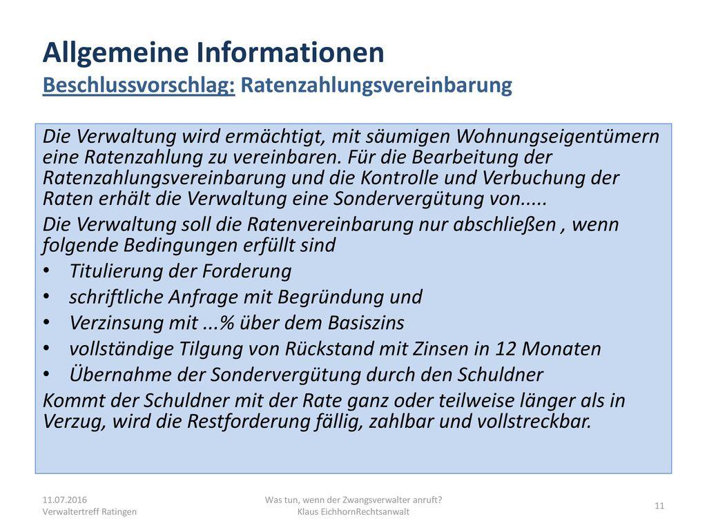 Allgemeine Informationen Beschlussvorschlag: Ratenzahlungsvereinbarung