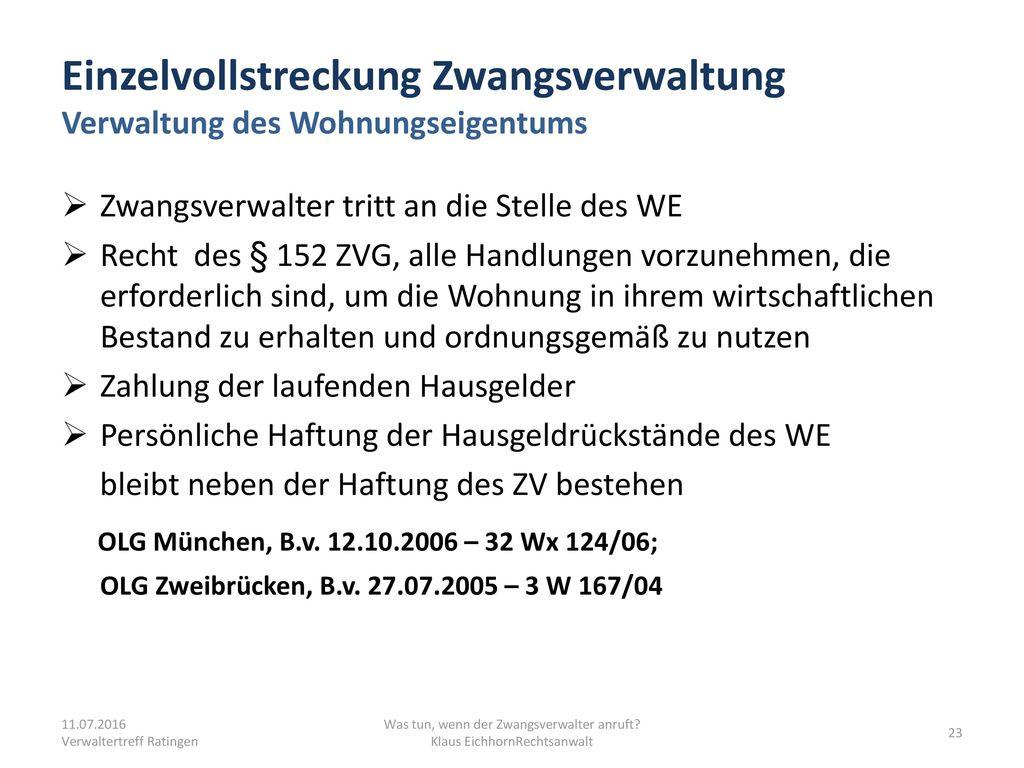 Einzelvollstreckung Zwangsverwaltung Verwaltung des Wohnungseigentums
