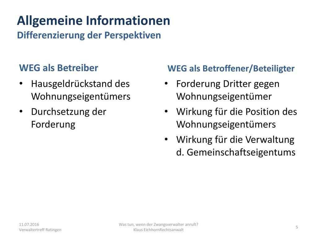 Allgemeine Informationen Differenzierung der Perspektiven