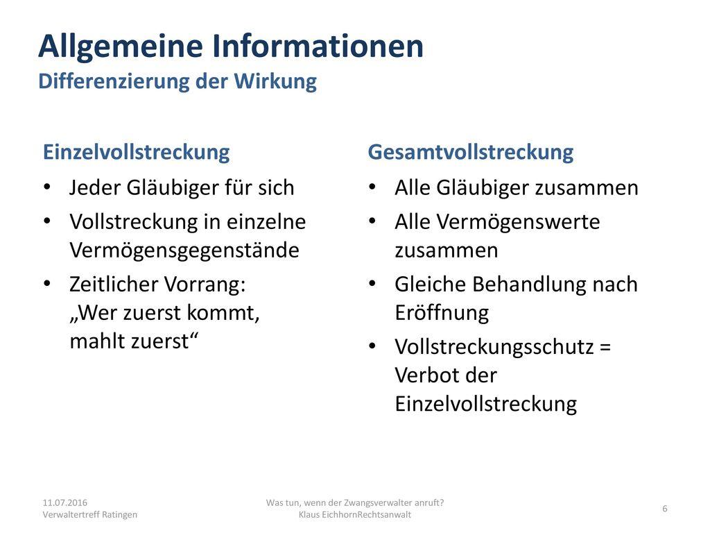 Allgemeine Informationen Differenzierung der Wirkung