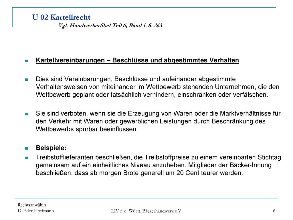 U 02 Kartellrecht Vgl. Handwerkerfibel Teil 6, Band 1, S. 263