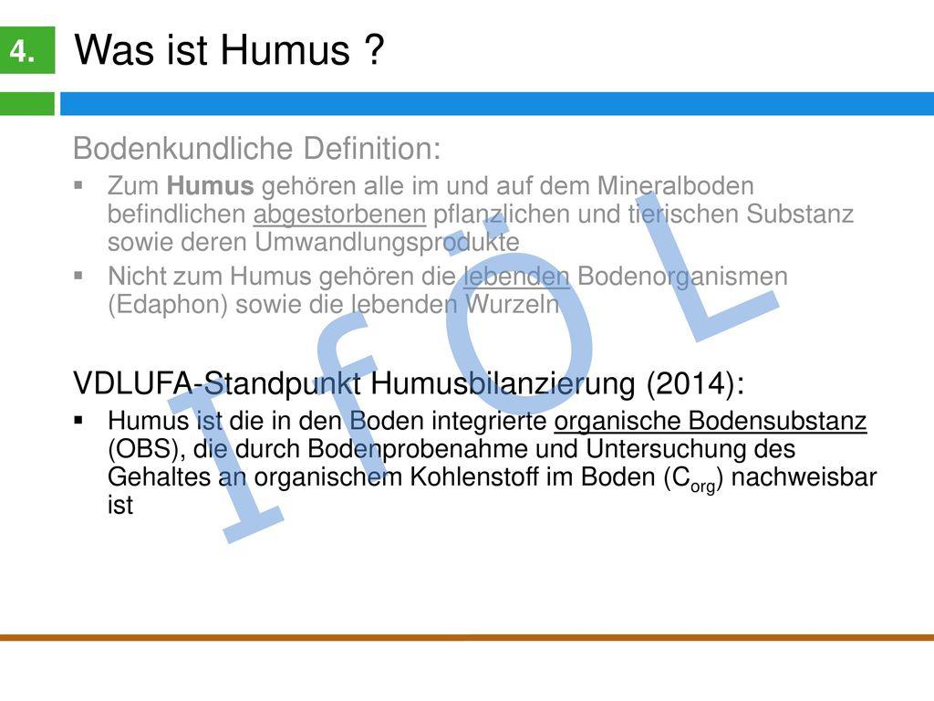 I f Ö L Was ist Humus 4. Organische Bodensubstanz (OBS) Humus