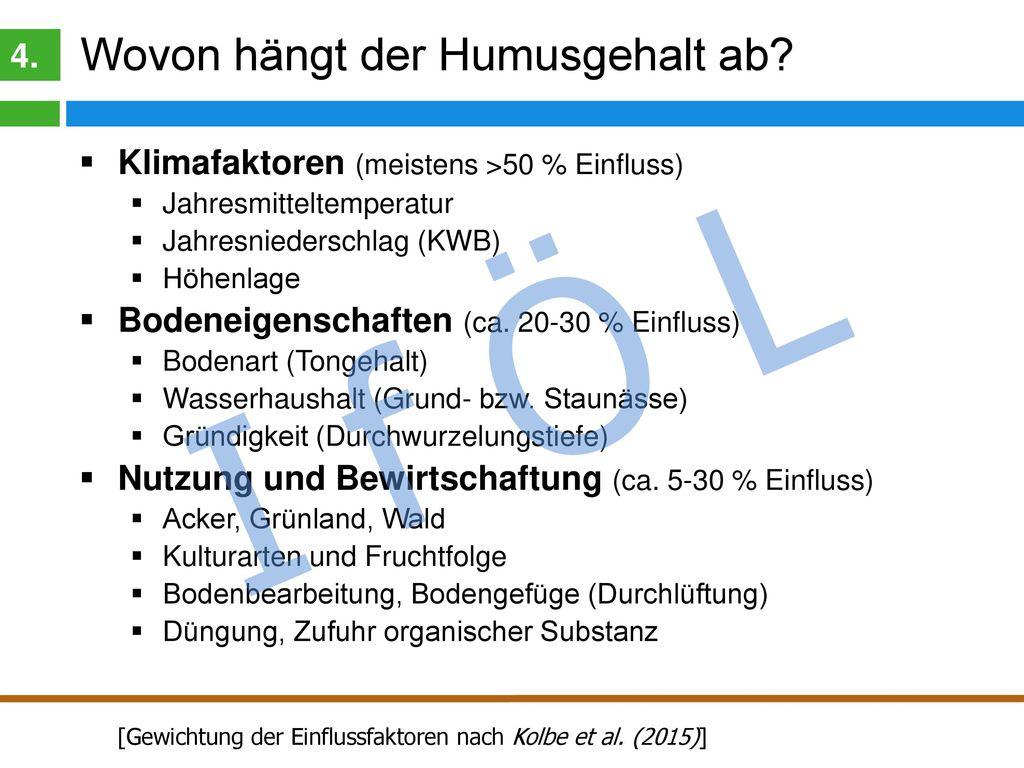 I f Ö L Klima und Humusgehalt 4.