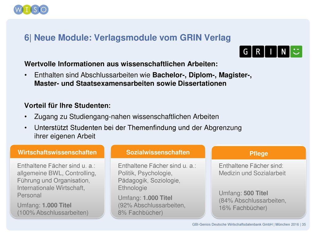 6| Neue Module: Verlagsmodule vom GRIN Verlag