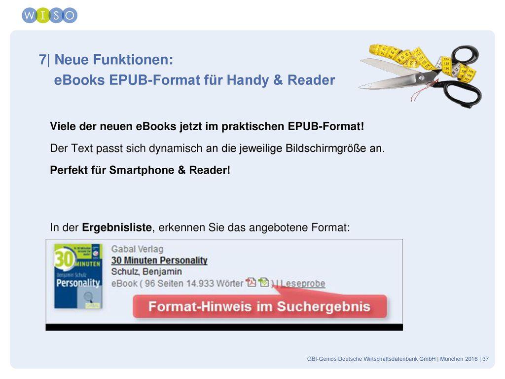 eBooks EPUB-Format für Handy & Reader