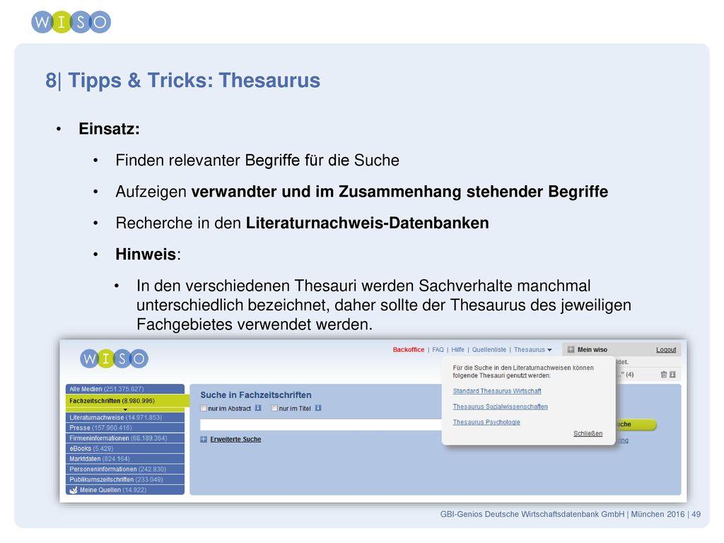 8| Tipps & Tricks: Thesaurus