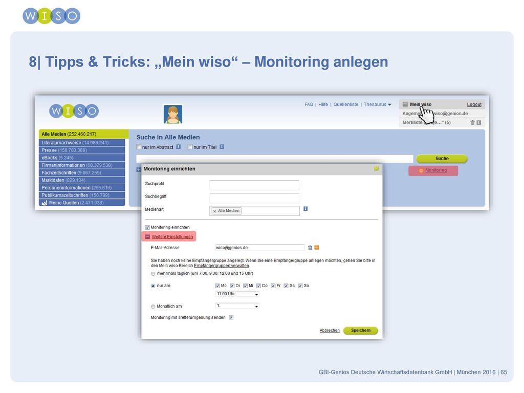 "8| Tipps & Tricks: ""Mein wiso – Monitoring anlegen"