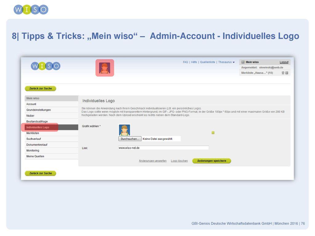 "8| Tipps & Tricks: ""Mein wiso – Admin-Account - Individuelles Logo"