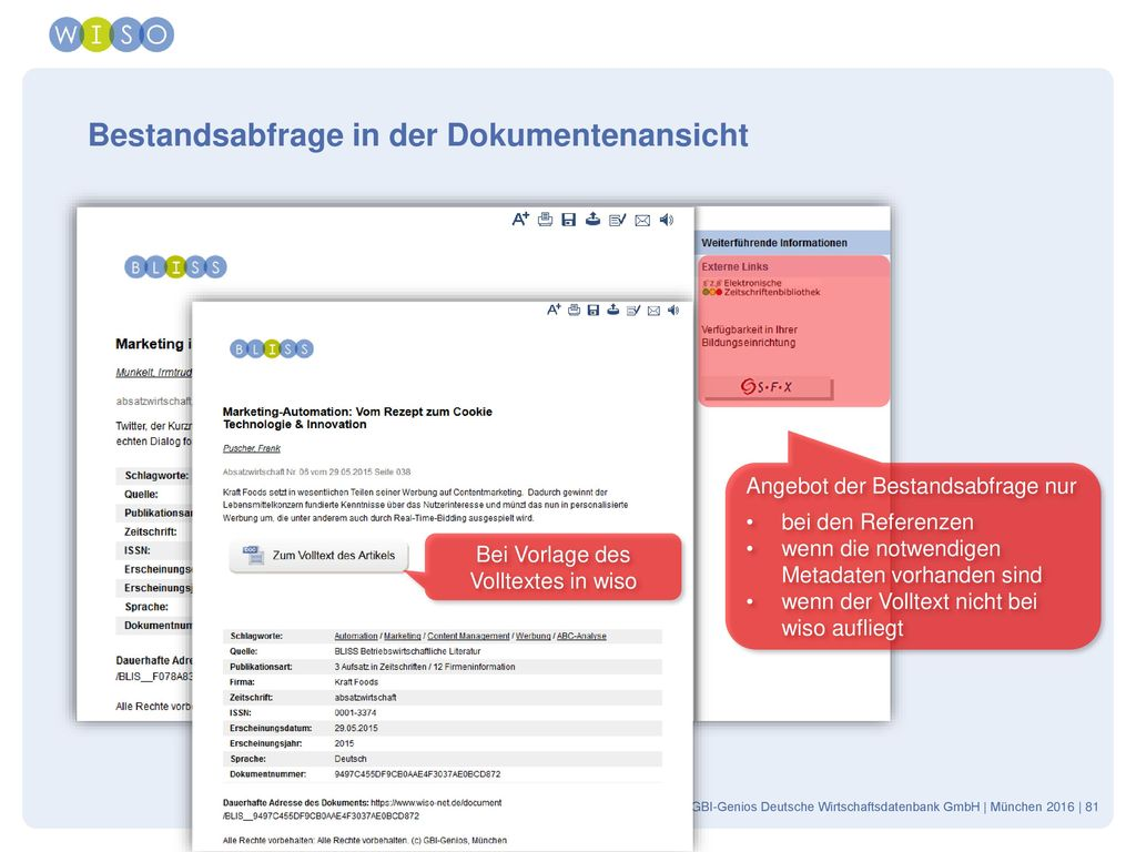Bestandsabfrage in der Dokumentenansicht