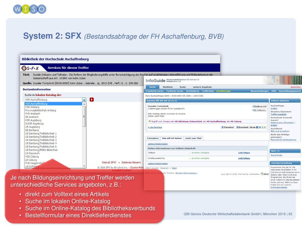 System 2: SFX (Bestandsabfrage der FH Aschaffenburg, BVB)