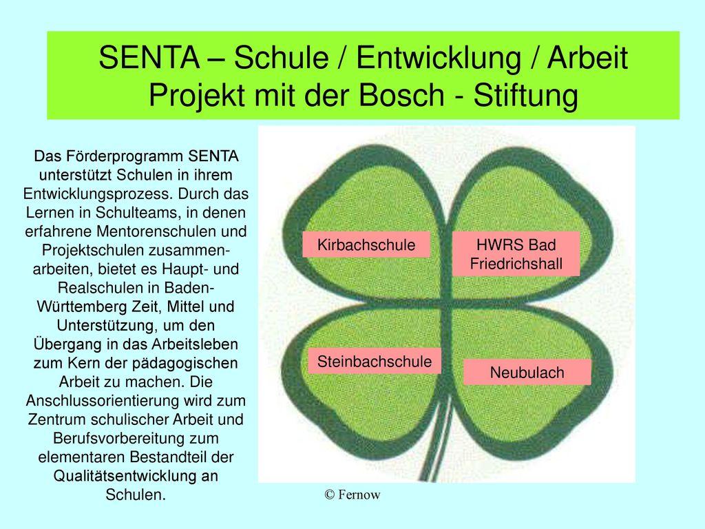SENTA – Schule / Entwicklung / Arbeit Projekt mit der Bosch - Stiftung