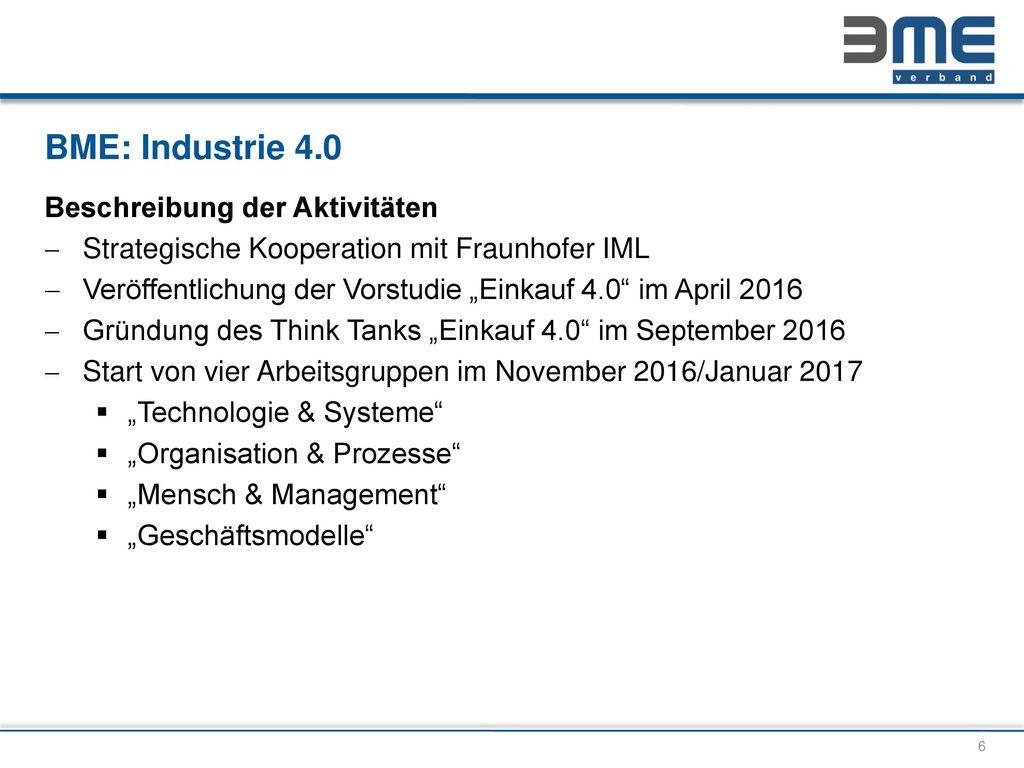 BME: Industrie 4.0 Beschreibung der Aktivitäten