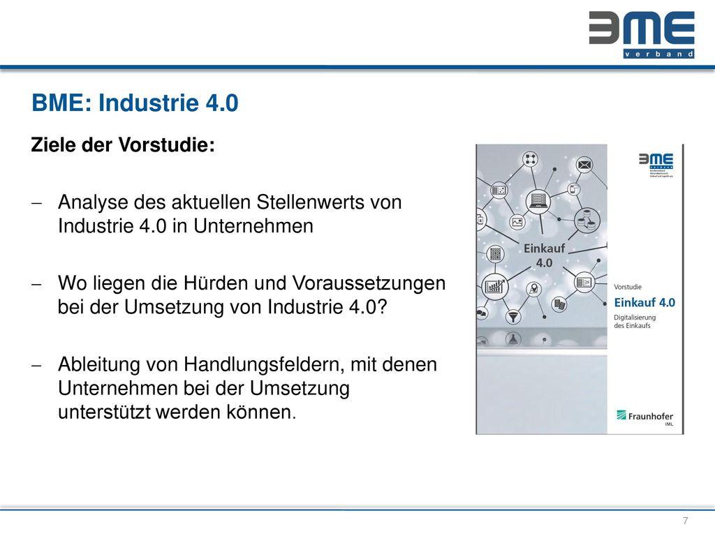BME: Industrie 4.0 Ziele der Vorstudie:
