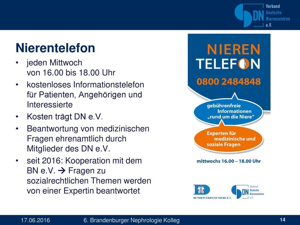 Nierentelefon jeden Mittwoch von 16.00 bis 18.00 Uhr