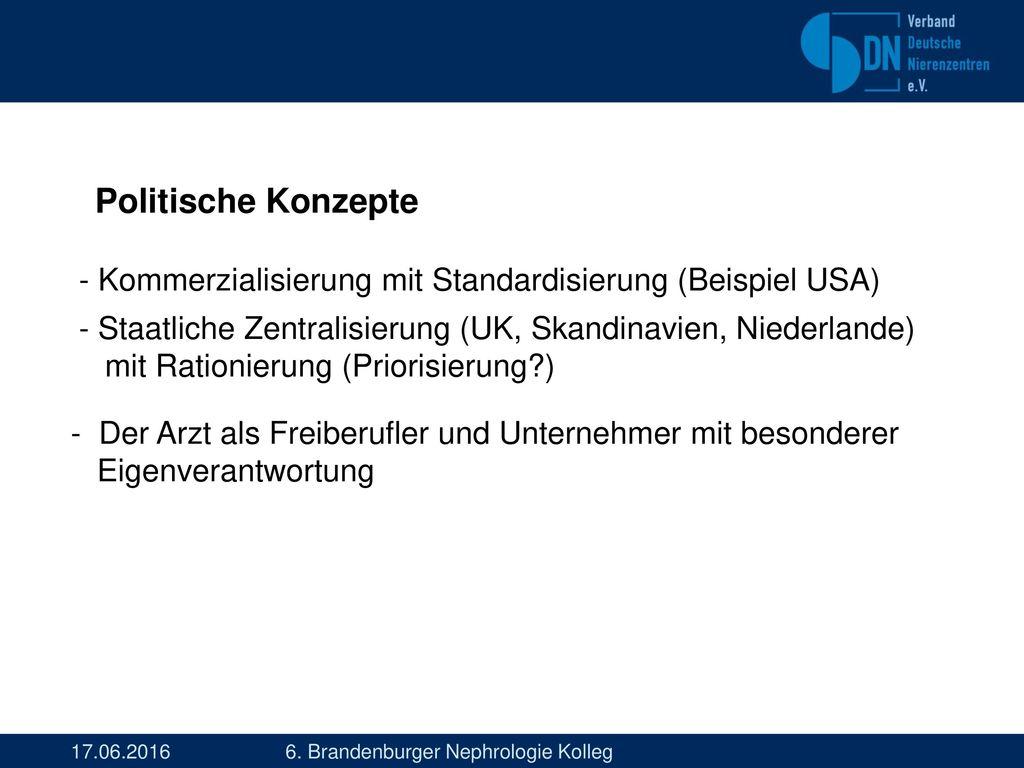 Politische Konzepte - Kommerzialisierung mit Standardisierung (Beispiel USA)