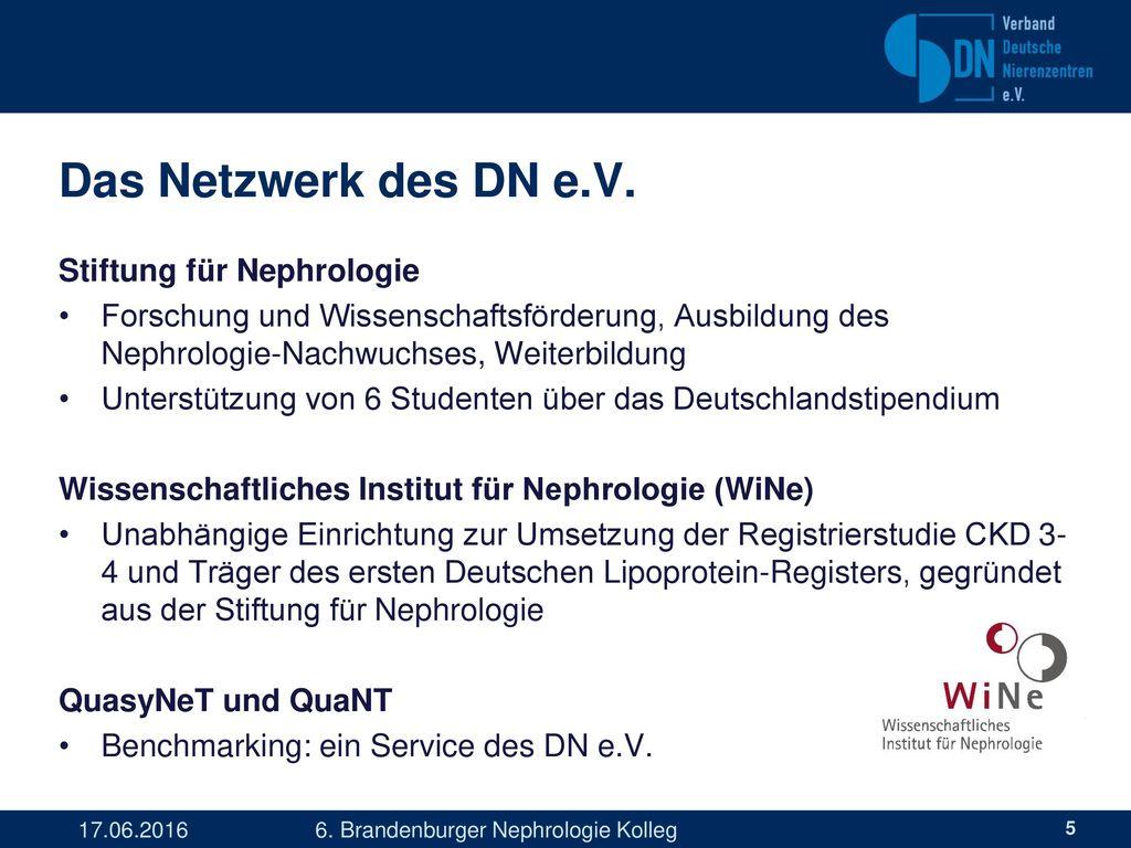 Das Netzwerk des DN e.V. Stiftung für Nephrologie