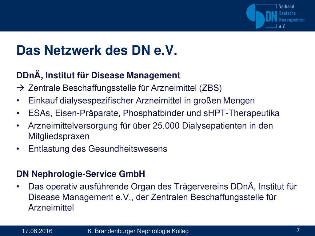 Das Netzwerk des DN e.V. DDnÄ, Institut für Disease Management