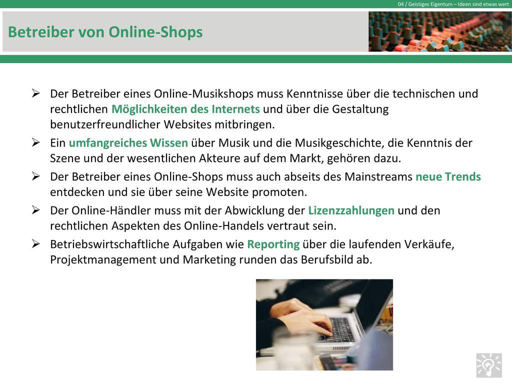 Betreiber von Online-Shops